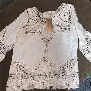 Bohemian style woman's three-quarter length shirt